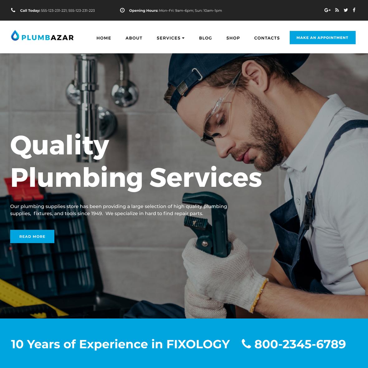 Plumbazar | Plumber Service WordPress Site