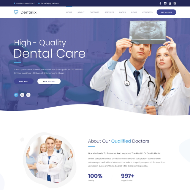 Dentalix | Dentist & Medical WordPress Site